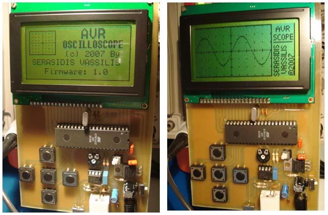 Осциллограф выполнен на микроконтроллере ATmega32.